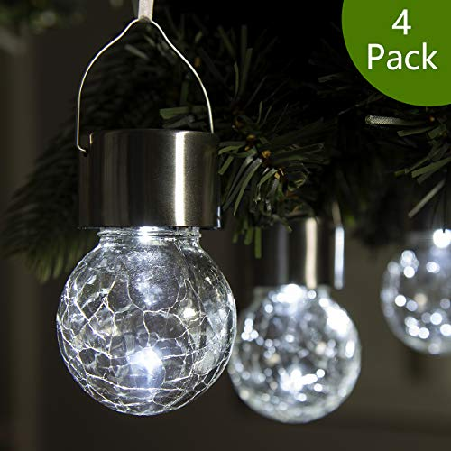GIGALUMI 4 Pack Hanging Solar Lights, White LED Solar Crackle Globe Hanging Lights Waterproof Outdoor Solar Lanterns with Handle for Garden, Yard, Patio, Lawn ()