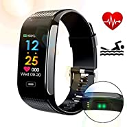 TOPWRX Fitness Tracker, Activity Tracker with Continuous Heart Rate Monitor,Built-in Charger IP67 Waterproof Smart Bracelet with Step Tracker Sleep Monitor Calorie Counter Pedometer Watch