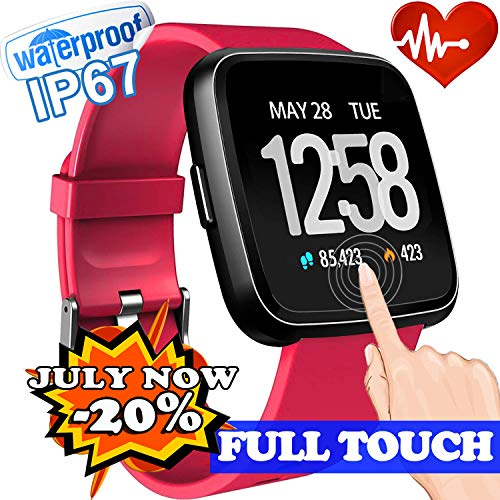 Fitness Tracker for Men Women Waterproof Smart Watch with Full Touch Screen Sleep Heart Rate Monitor Blood Pressure Wrist Watch Activity Sport Watch Birthday Gifts (Red)