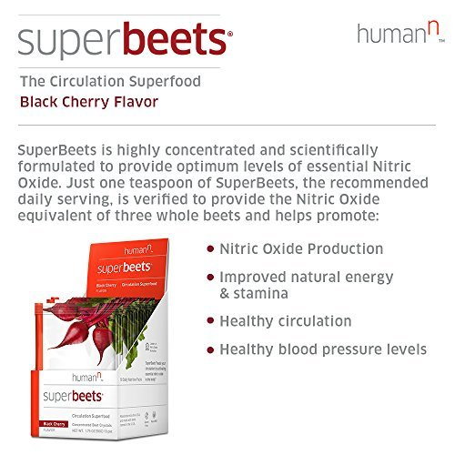 HumanN SuperBeets Circulation Superfood Concentrated Beet Crystals Nitric Oxide Boosting Supplement (Black Cherry Flavor, 0.175-Ounce, 10 Packets)