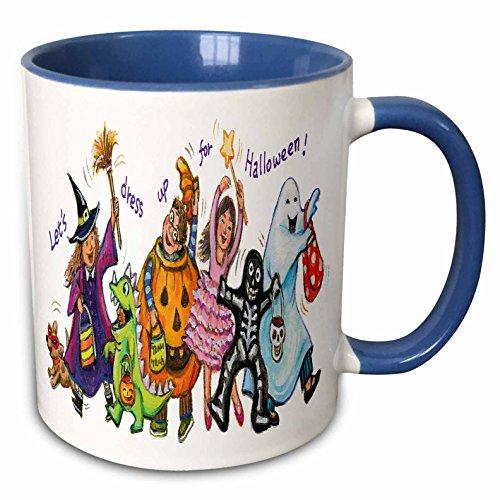 (3dRose Anne Marie Baugh - Halloween - Cute Illustration Of Halloween Trick Or Treaters - 15oz Two-Tone Blue Mug)