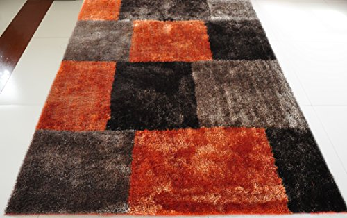 All New Contemporary Square Checkered Design Shag Rugs by Rug Deal Plus (4' x 6', Brown/Orange)