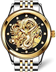 Gosasa Mens Dragon Collection Luxury Carved Dial Automatic Mechanical Waterproof Gold Watch
