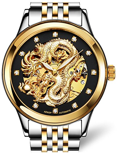 Carved Collection - Gosasa Men's 'Dragon Collection' Luxury Carved Dial Automatic Mechanical Waterproof Gold Watch