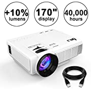 "#LightningDeal 83% claimed: DR.J (2018 Upgraded) +10% Lumens 4Inch Mini Projector with 170"" Display - 40,000 Hour LED Full HD Video Projector 1080P, Compatible with Amazon Fire TV Stick, HDMI, VGA, USB, AV, SD for Home Theater"