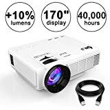 DR.J (2018 Upgraded) +10% Lumens 4Inch Mini Projector with 170″ Display – 40,000 Hour LED Full HD Video Projector 1080P, Compatible with Amazon Fire TV Stick, HDMI, VGA, USB, AV, SD for Home Theater