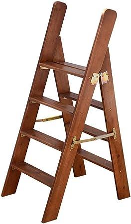 Escalera portátil de 4 peldaños, Escalera de Tijera, Escaleras de escaleras de Madera para sillas de casa para niños y Adultos, Herramienta de jardín para el hogar, Máx. 150kg en marrón: Amazon.es: