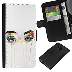 All Phone Most Case / Oferta Especial Cáscara Funda de cuero Monedero Cubierta de proteccion Caso / Wallet Case for HTC One M7 // Eyes Colorful Art Tears Make Up