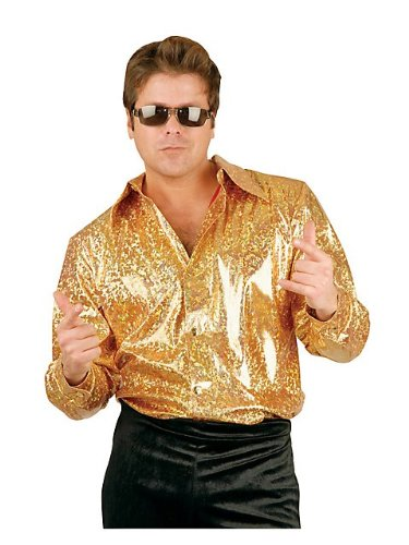 70s Dress Men (Gold Glitter Hologram Disco Shirt Adult Costume - Medium)