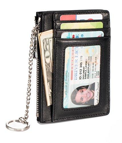 Slim Genuine Leather Credit Card Holder Front Pocket Wallet with ID Window Zipper Pocket Key Chain RFID Blocking - Black