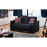 BEYAN Westchester Collection Faux Leather Upholstered Convertible Sleeper Loveseat Storage, Solid Wood Frame Steel Innersprings, Black