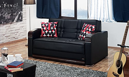 - BEYAN Westchester Collection Faux Leather Upholstered Convertible Sleeper Loveseat with Storage, Solid Wood Frame, and Steel Innersprings, Black