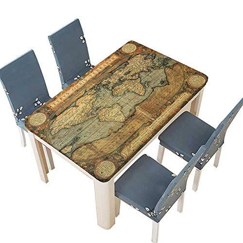 (PINAFORE Decorative Tablecloth Foto de archivo reproducción del siglo XVI Mapa del Mundo grabado ycolor por Table Cover for Dining Room and Party W65 x L104 INCH (Elastic Edge))