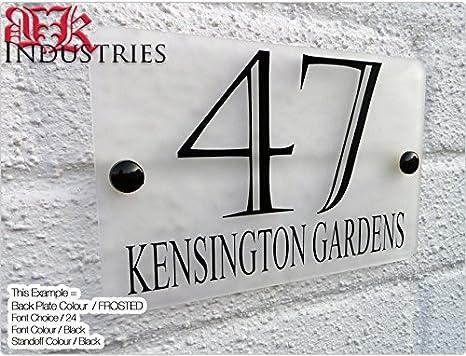 Metacrilato esmerilado placa números de casa placas, texto ...
