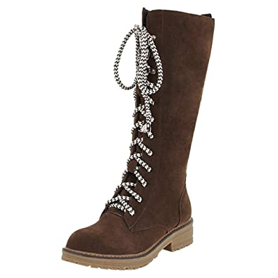 Ansenesna Stiefel Damen Braun Mit Absatz Kniehoch Wildleder Schuhe Frauen  Teenager Mode Vintage Zum Schnüren Boots 037db7a161