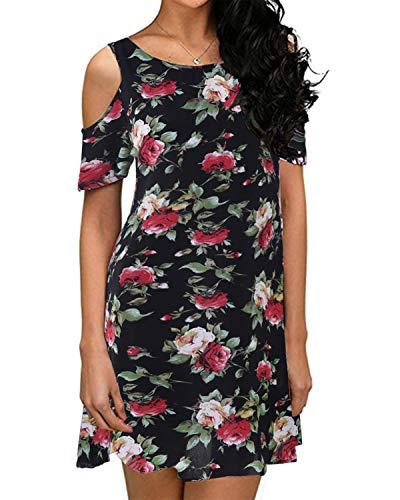 ZANZEA Women's Summer Cold Shoulder Tunic Top Short Sleeve Floral Print Swing T-Shirt Loose Dress Black 14