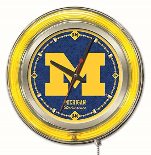 "Holland Bar Stool Company Clk15MichUn NCAA Michigan Wolverines Double Neon Ring Logo Clock, 15"" Diameter from Holland Bar Stool Company"