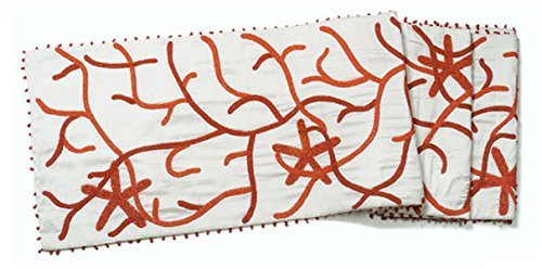 Arcadia Home RS0403L Coral Silk Table Runner, Large, Ivory