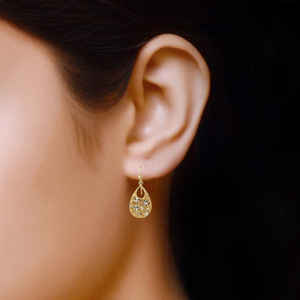 LeCalla Joyas de Plata turca Doble Tear Drop Corte de Diamante ...