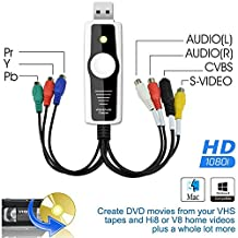 DigitNow Digital High Definition/Ypbpr(1080I) VHS and Camcorder USB Video Capture Kit for Mac OSX and Windows Copy,Convert,Transfer Video To DVD,USB Storage or Upload Captured Video To Internet