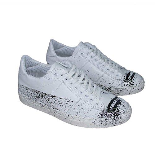 Scarpe uomo sneakers basso bianco vera pelle schizzato stringhe genuine leather