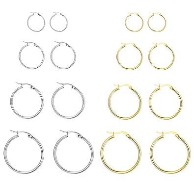 6e25a40d1 Stainless Steel Hoop Earrings for Women, Huggie Hoops 12MM-25MM Gold  Silver, 8