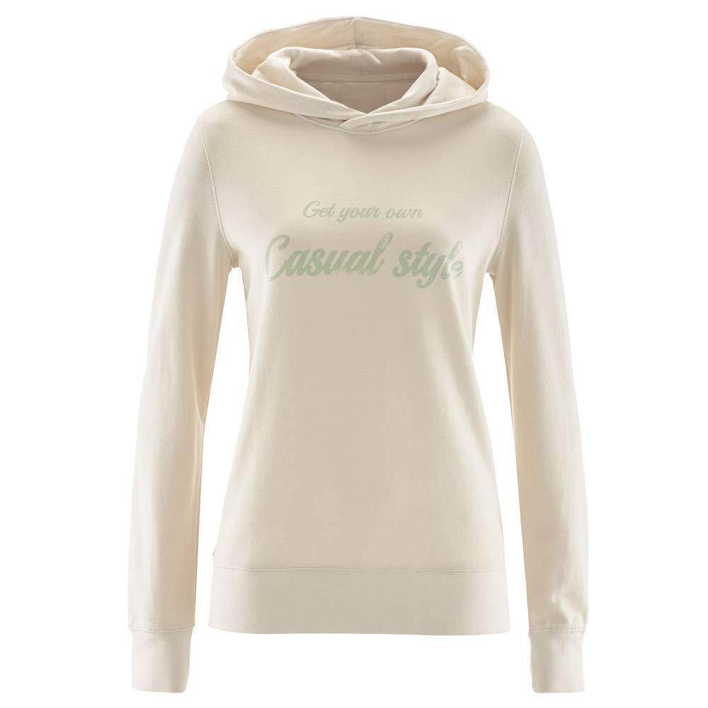 Sannysis Women Casual Long Sleeve Loose Letter Print Pullover Hoodie Blouse Top Shirt, Beige 2XL
