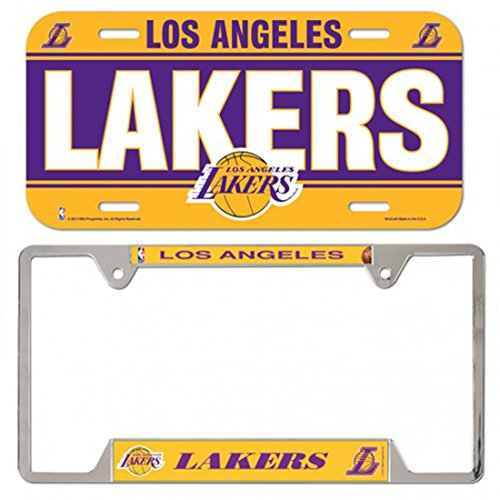 WinCraft Bundle 2 Items: NBA Los Angeles Lakers 1 Metal License Plate Frame and 1 Plastic License Plate by WinCraft
