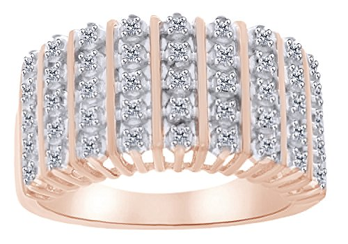 White Natural Diamond Accent Dom Ring in 14k Rose Gold Over Sterling Silver Ring Size - 13