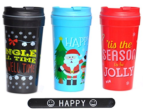 Hot Cocoa Coffee Tea Snowman Santa Holiday Christmas Travel Mugs SET of 3 and HAPPY Slapstick Christmas Teacher Kids Boys Girls Gift (CupSet2)