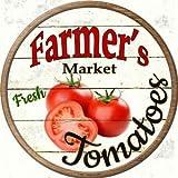 Smart Blonde Farmers Market Tomatos Novelty Metal Circular Sign C-595