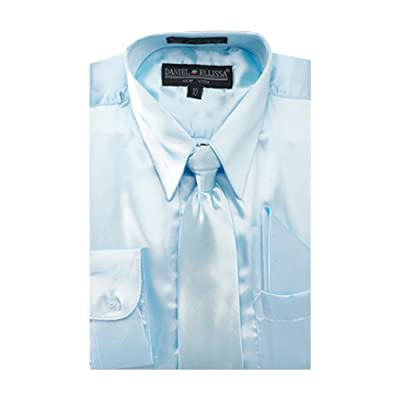 Sunrise Outlet Boy's Satin Dress Shirt with Matching Tie and Hanky Set