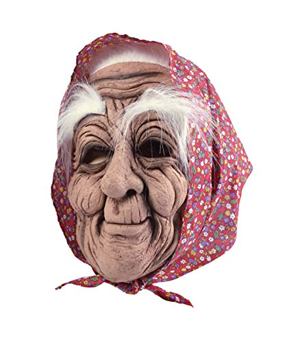 Adult's Old Woman Mask & Headscarf (Lady Costume Mask)
