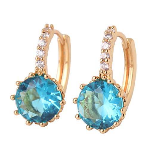 GULICX Yellow Gold Tone Acquamarine Color Crystal love Earrings Women Charm Earrings Hoop