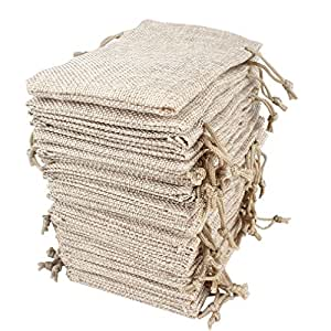 Hapdoo 30 Pack Burlap Bags with Drawstring Gift Bags Jewelry Pouches Sacks for Wedding Party and DIY Craft, 5 x 3.5 Inches