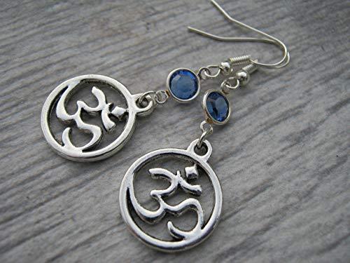 (Sanskrit Om Birthstone Earrings, Buddhist Hindu Earrings, Aum Symbol Jewelry, Personalized Yoga Gift )