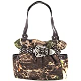 Brown Belted Rhinestone Western Buckle Soft Camo Purse Camouflage Cowgirl Bag, Bags Central