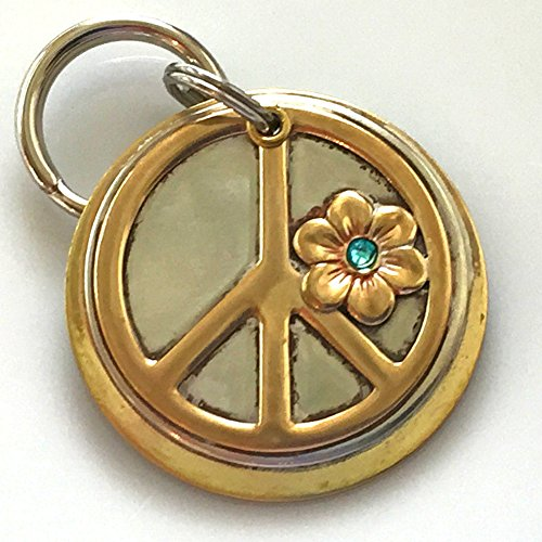 Personalized Pet ID Tag - Dylan - Peace Symbol with Flower Embellished with a Swarovski Crystal by Claude's Paws