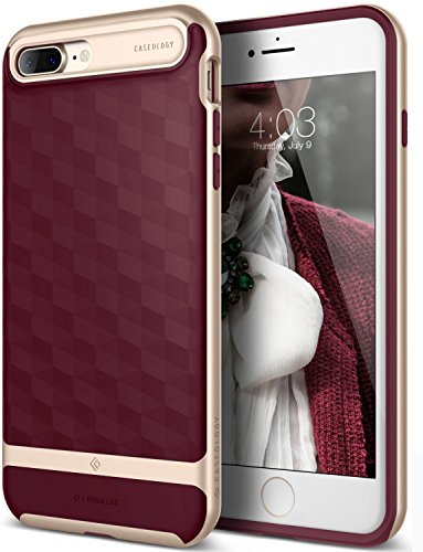 iPhone 7 Plus Case, Caseology [Parallax Series] Modern Slim Geometric Design [Burgundy] [Textured Grip] for Apple iPhone 7 Plus (2016)