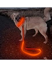 Bseen Led Dog Leash, USB Rechargeable Nylon Light Up Dog Leash, 47.2inches Glowing Pet Lead High Visible Safety & Be Seen for Large,Medium,Small Dogs (Orange)
