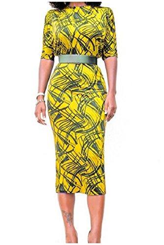 Yellow Dress Boat Women Coolred Waist Belt Floral Waist Empire Neckline Office vZq44x6w