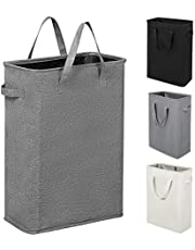 ZERO JET LAG Slim Laundry Hamper with Handles Thin Laundry Bin Collapsible Dirty Clothes Basket Narrow Laundry Bag Foldable Dirty Hamper (Dark Grey)