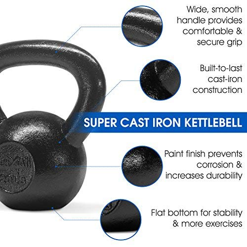 Yes4All Solid Cast Iron Kettlebell Weights Set – Great for Full Body Workout and Strength Training – Kettlebell 20 lbs (Black) by Yes4All (Image #3)