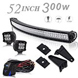 UNI FILTER 52 Inch 300W Curved LED Light Bar Offroad + 4 Inch 18W Cube Pods Driving Lights W/Rocker Switch On Bumper Roof Windshield For Jeep Wrangler Dodge Ram Ford Truck Polaris RZR Boat Tacoma