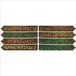 Beistle 54370 4-Pack Medieval Street Sign Cutouts, 4-Inch by 24-Inch