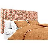 MJL Furniture Designs Alice Padded Bedroom Headboard Contemporary Styled Bedroom Décor, Nicole Series Headboard, Tabby Orange Finish, Twin Sized, USA Made