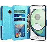 Moto Z Play Case, LK Luxury PU Leather Wallet Flip Protective Case Cover with Card Slots & Stand for Motorola Moto Z Play Droid (Sky Blue)