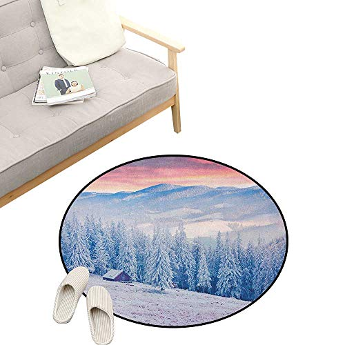 (Winter Round Rug ,Calm Scenic Sunrise Scenery in The Carpathian Mountains Countryside Environment, Flannel Microfiber Non-Slip Soft Absorbent 47
