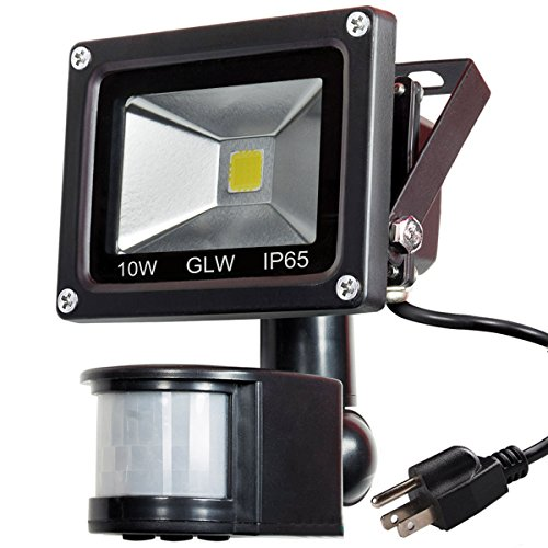 GLW 10W LED Motion Sensor Flood Light IP65 Waterproof Outdoor Security Light 900 Lumens Daylight White 6000K with PIR 80W Halogen Bulb Equivalent for Garden Garage Patio etc[with US 3-Plug]