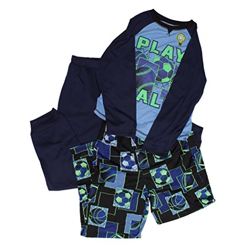 St. Eve Boys' 3-piece Sleep Set (Blue Glow In The Dark Play Ball) (X-Small (5/6), Blue)